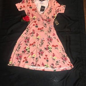 pink dress, with roses